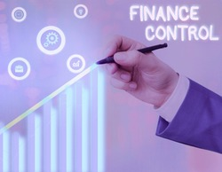 Conceptual hand writing showing Finance Control. Business photo text procedures that are implemented to analysisage finances.