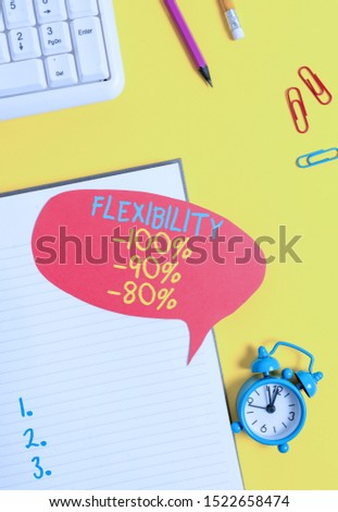 Conceptual hand writing showing Flexibility 100 Percent 90 Percent 80 Percent. Business photo showcasing How much flexible you are maleability level Empty red bubble paper on the table with pc