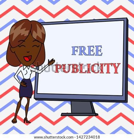 Conceptual hand writing showing Free Publicity. Business photo text Promotional marketing Mass media Public Relations Editorial White Female in Standing Pointing Whiteboard Presentation.
