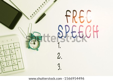 Conceptual hand writing showing Free Speech. Business photo showcasing the right of showing to express their opinions publicly Business concept with space for advertising and text message.