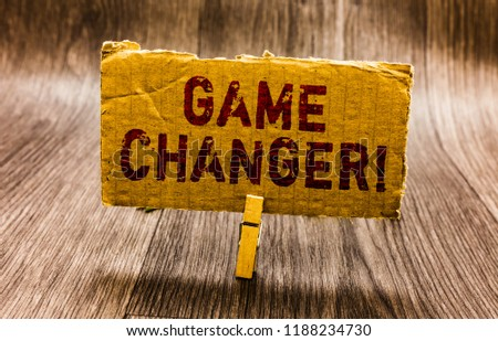 Conceptual hand writing showing Game Changer. Business photo text Sports Data Scorekeeper Gamestreams Live Scores Team Admins Paper notes reminders question mark asking important answer. #1188234730