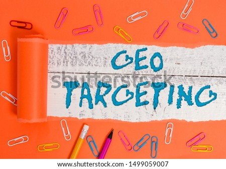 Conceptual hand writing showing Geo Targeting. Business photo text Digital Ads Views IP Address Adwords Campaigns Location.