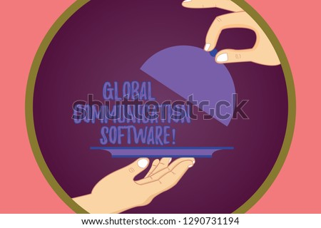 Conceptual hand writing showing Global Communication Software. Business photo showcasing Ways to connect showing across geographic Hu analysis Hands Serving Tray Platter and Lifting the Lid.
