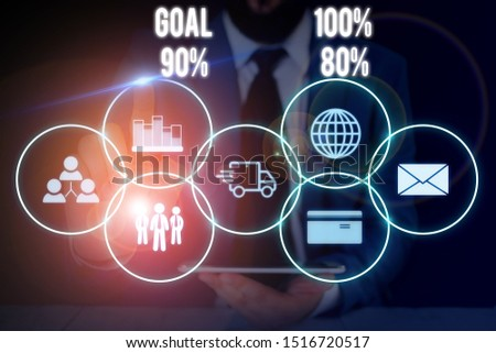 Conceptual hand writing showing Goal 100 Percent 90 Percent 80 Percent. Business photo showcasing Percentage of your objectives fulfilment success level Male wear formal suit presenting presentation