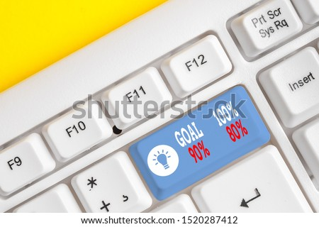 Conceptual hand writing showing Goal 100 Percent 90 Percent 80 Percent. Business photo text Percentage of your objectives fulfilment success level White pc keyboard with note paper above the white