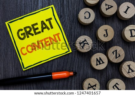 Conceptual hand writing showing Great Content. Business photo showcasing Satisfaction Motivational Readable Applicable Originality Yellow paper circle Marker express ideas wooden background. #1247401657