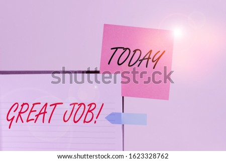 Conceptual hand writing showing Great Job. Business photo showcasing used praising someone for something they have done very well Hard cover note book sticky note banner clear background.