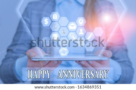 Conceptual hand writing showing Happy Anniversary. Business photo text The annually recurring date of a past event celebration.