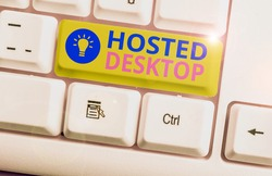 Conceptual hand writing showing Hosted Desktop. Business photo showcasing product set within the larger cloudcomputing sphere.