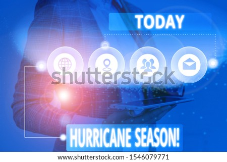 Conceptual hand writing showing Hurricane Season. Business photo showcasing time when most tropical cyclones are expected to develop Picture photo network scheme with modern smart device.