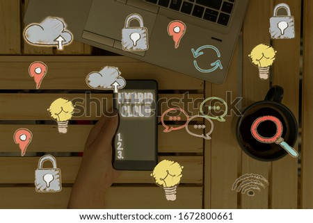 Conceptual hand writing showing Hybrid Cloud. Business photo text computing environment that combines public and a private cloud. stock photo