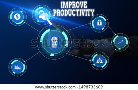 Conceptual hand writing showing Improve Productivity. Business photo text to increase the machine and process efficiency Woman wear work suit presenting presentation smart device.