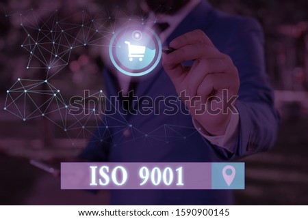 Conceptual hand writing showing Iso 9001. Business photo showcasing designed help organizations to ensure meet the needs of customers.