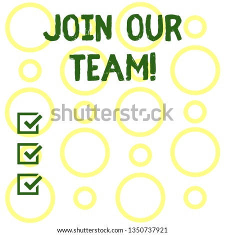 Conceptual hand writing showing Join Our Team. Business photo showcasing Get over unemployment joining better career workforce Seamless Pattern of Loop Rings in Random on White Isolated.