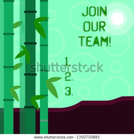 Conceptual hand writing showing Join Our Team. Business photo showcasing Get over unemployment joining better career workforce Colorful Set of Leafy Bamboo and Moon or Sun with Round Beam.