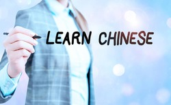 Conceptual hand writing showing Learn Chinese. Business photo showcasing gain or acquire knowledge in writing and speaking Chinese.