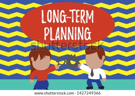 Conceptual hand writing showing Long Term Planning. Business photo text Establish Expected Goals five or more years ahead Young couple sharing gear Man tie woman skirt relation.