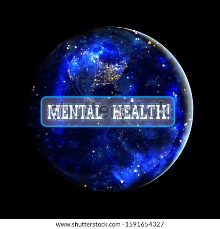 Conceptual hand writing showing Mental Health. Business photo showcasing demonstratings condition regard to their psychological well being Elements of this image furnished by NASA.