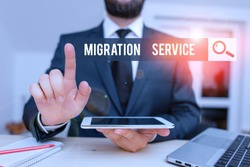 Conceptual hand writing showing Migration Service. Business photo showcasing moving of company data to a cloud service providers Male human wear formal clothes present use hitech smartphone.
