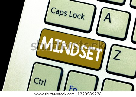 Conceptual hand writing showing Mindset. Business photo showcasing Established set of attitudes held by someone Positive attitude #1220586226