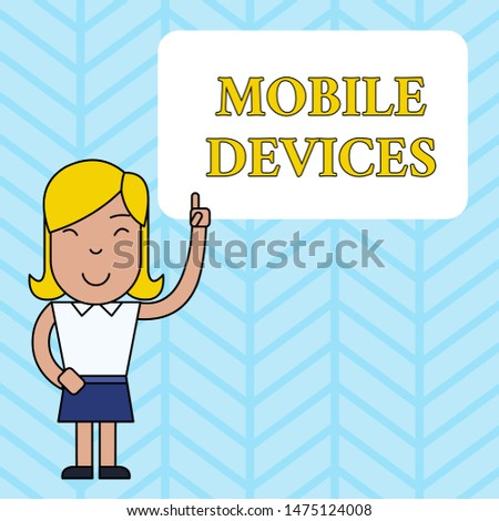Conceptual hand writing showing Mobile Devices. Business photo showcasing A portable computing device like smartphone tablet computer Woman Standing with Raised Left Index Finger Pointing at Box.