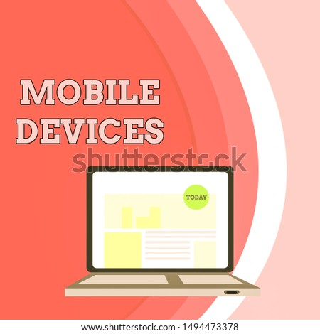 Conceptual hand writing showing Mobile Devices. Business photo showcasing A portable computing device like smartphone tablet computer Laptop Switched On with Website Homepage Screen Web Search.