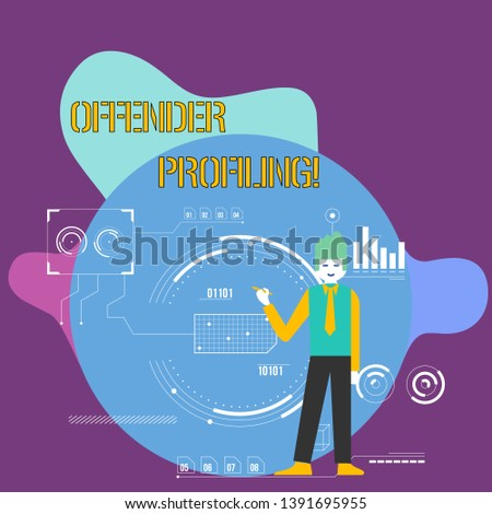 Conceptual hand writing showing Offender Profiling. Business photo showcasing Develop profiles for offenders who not yet apprehended Man Holding Pen Pointing to Chart Diagram SEO Process Icons.