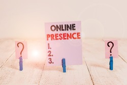Conceptual hand writing showing Online Presence. Business photo showcasing existence of an individual can be found via an online search Crumbling sheet with paper clips placed on the wooden table.