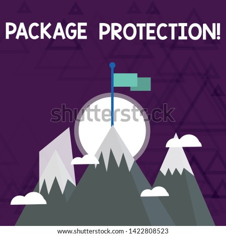 Conceptual hand writing showing Package Protection. Business photo showcasing Wrapping and Securing items to avoid damage Labeled Box Three High Mountains with Snow and One has Flag at the Peak.