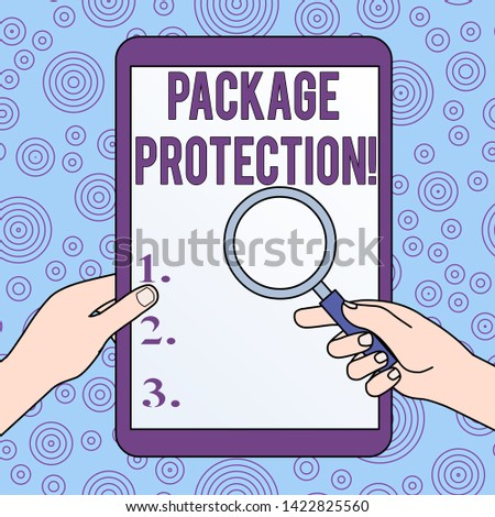 Conceptual hand writing showing Package Protection. Business photo showcasing Wrapping and Securing items to avoid damage Labeled Box Hands Holding Magnifying Glass Against Switched Off Tablet.