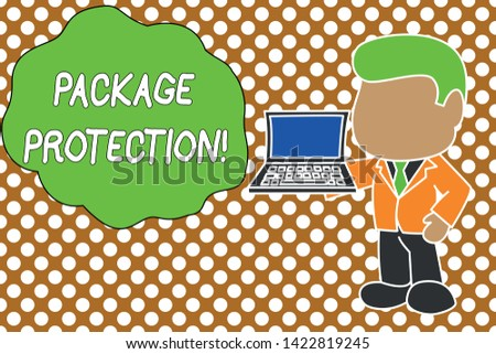 Conceptual hand writing showing Package Protection. Business photo text Wrapping and Securing items to avoid damage Labeled Box Standing businessman holding open laptop right hand side.