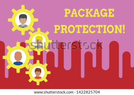 Conceptual hand writing showing Package Protection. Business photo text Wrapping and Securing items to avoid damage Labeled Box Gearshaped picture frame family ornament Whole Family photo.