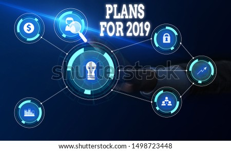 Conceptual hand writing showing Plans For 2019. Business photo text an intention or decision about what one is going to do Woman wear work suit presenting presentation smart device. #1498723448