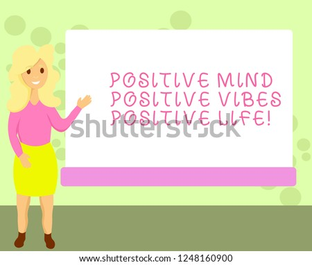 Conceptual hand writing showing Positive Mind Positive Vibes Positive Life. Business photo showcasing Motivation inspiration to live Female Hu analysis Presenting Rectangular Blank Whiteboard.