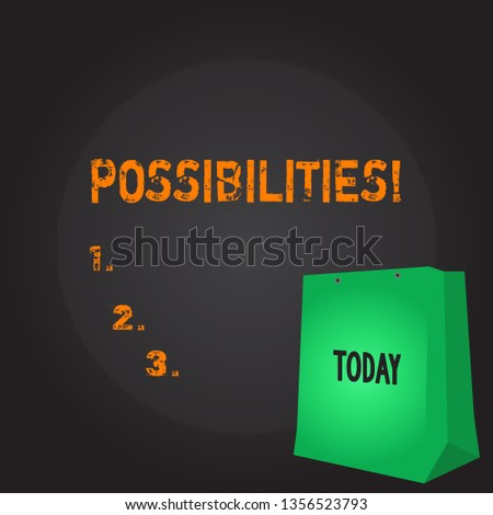 Conceptual hand writing showing Possibilities. Business photo showcasing Things that may happen or be the case State of being possible Color Gift Bag with Punched Hole on Two toned Blank Space.