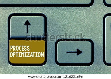 Conceptual hand writing showing Process Optimization. Business photo showcasing Improve Organizations Efficiency Maximize Throughput