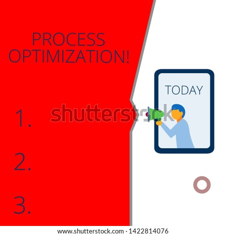 Conceptual hand writing showing Process Optimization. Business photo text Improve Organizations Efficiency Maximize Throughput Geometrical background man chest holding megaphone speech bubble.