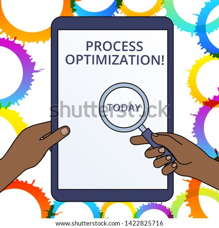 Conceptual hand writing showing Process Optimization. Business photo text Improve Organizations Efficiency Maximize Throughput Hands Holding Magnifying Glass Against Switched Off Tablet.