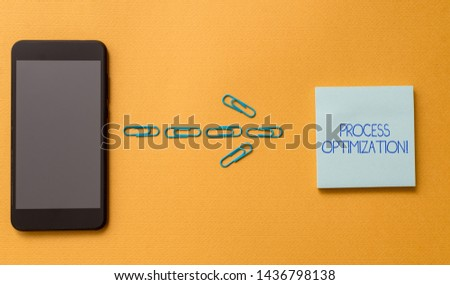 Conceptual hand writing showing Process Optimization. Business photo text Improve Organizations Efficiency Maximize Throughput Colored blank sticky note clips smartphone cool pastel background.