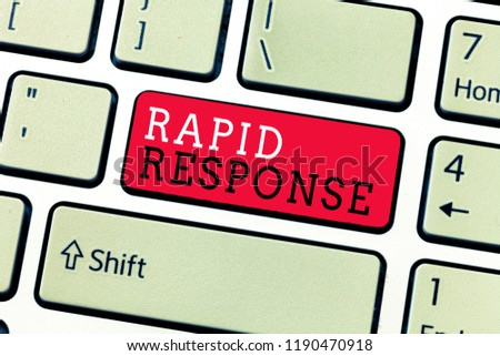 Conceptual hand writing showing Rapid Response. Business photo text Medical emergency team Quick assistance during disaster
