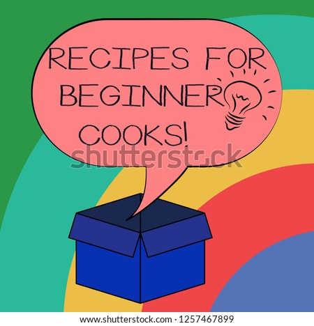 Conceptual hand writing showing Recipes For Beginner Cooks. Business photo text Fast and easy food preparations for new chefs Idea icon in Blank Halftone Speech Bubble Over Carton Box.