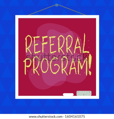 Conceptual hand writing showing Referral Program. Business photo showcasing internal recruitment method employed by organizations Asymmetrical uneven shaped pattern object multicolour design.
