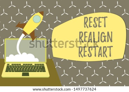Conceptual hand writing showing Reset Realign Restart. Business photo showcasing Life audit will help you put things in perspectives Successful rocket launching laptop background Startup grow.