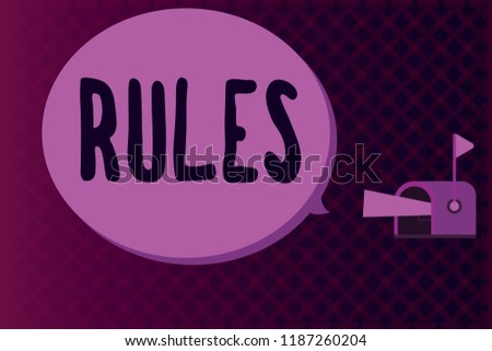 Conceptual hand writing showing Rules. Business photo showcasing exercise ultimate power authority over area and its people Regulation