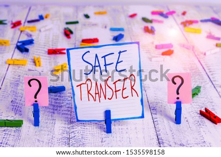 Conceptual hand writing showing Safe Transfer. Business photo showcasing Wire Transfers electronically Not paper based Transaction Crumbling sheet with paper clips placed on the wooden table. #1535598158