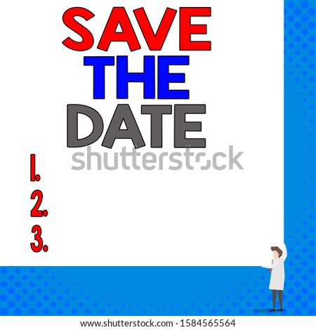 Conceptual hand writing showing Save The Date. Business photo showcasing Systematized events Scheduled activity Recorded Filed Young woman holding two hands right corner blank rectangle.