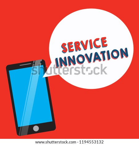 Conceptual hand writing showing Service Innovation. Business photo showcasing Improved Product Line Services Introduce upcoming trend