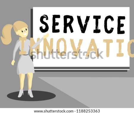 Conceptual hand writing showing Service Innovation. Business photo text Improved Product Line Services Introduce upcoming trend