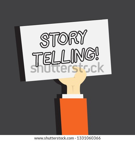 Conceptual hand writing showing Story Telling. Business photo showcasing Tell or write short Stories Share Personal Experiences.