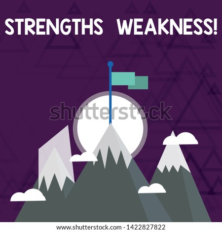 Conceptual hand writing showing Strengths Weakness. Business photo showcasing Opportunity and Threat Analysis Positive and Negative Three High Mountains with Snow and One has Flag at the Peak.